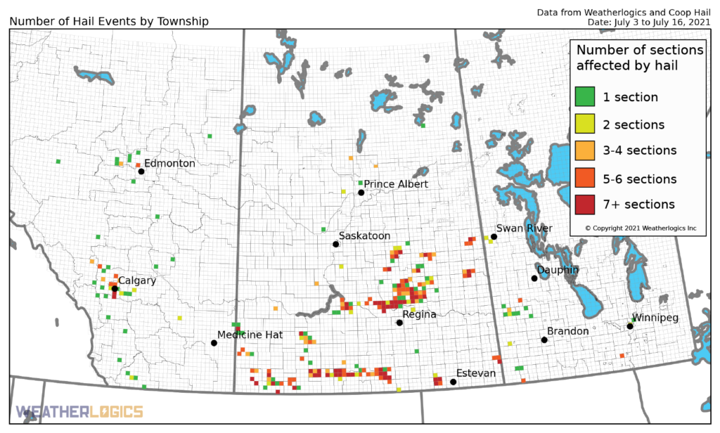 Map of hail events on the Prairies between July 3 and 16, 2021