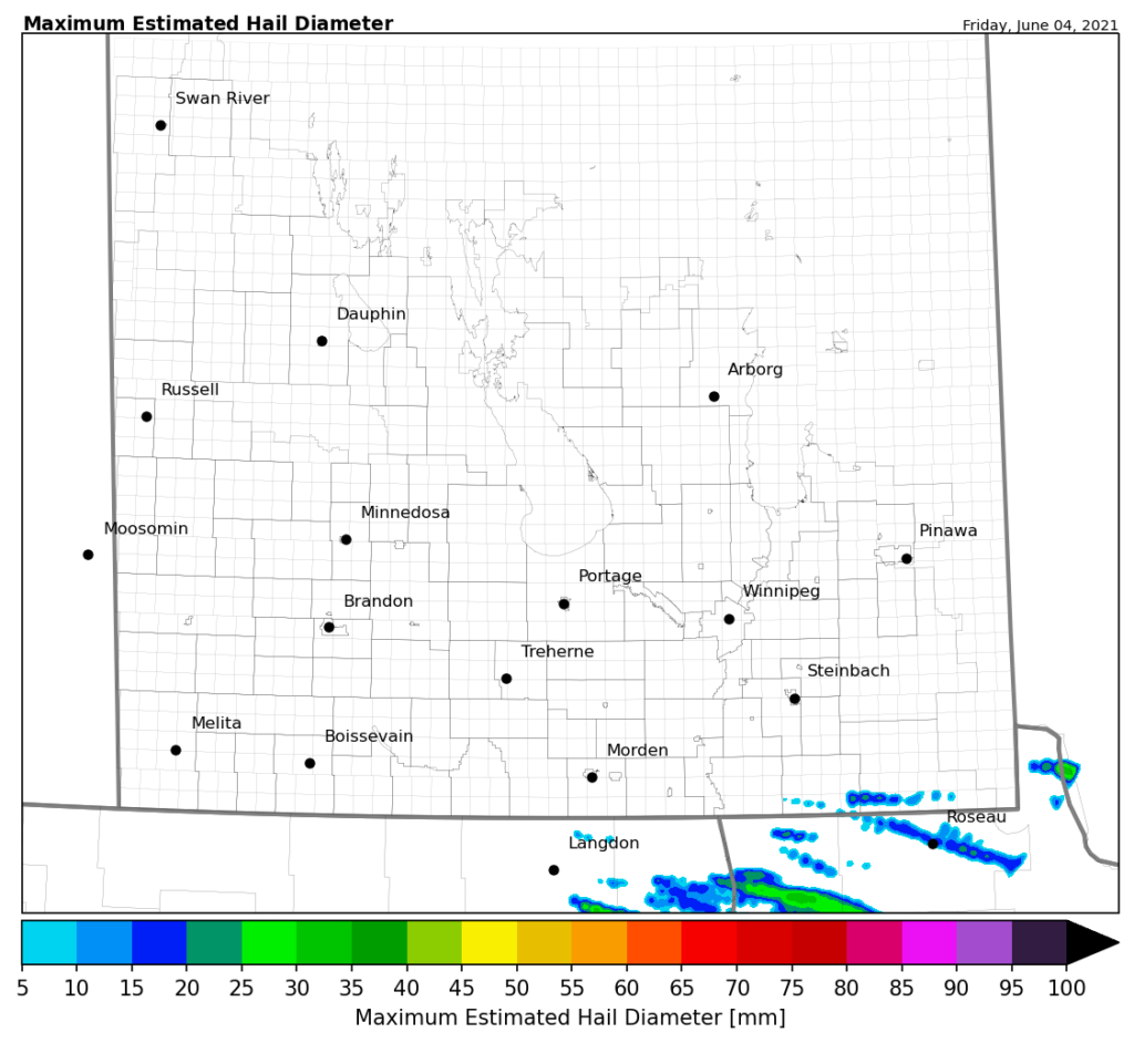 Example hail swath map