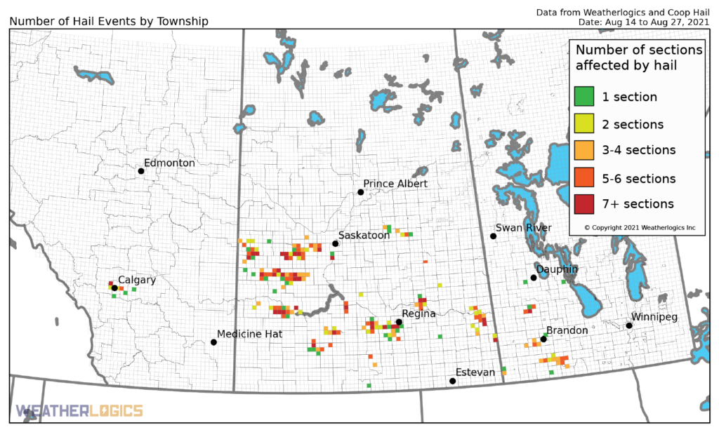Map of hail events on the Prairies between August 14 and August 27, 2021