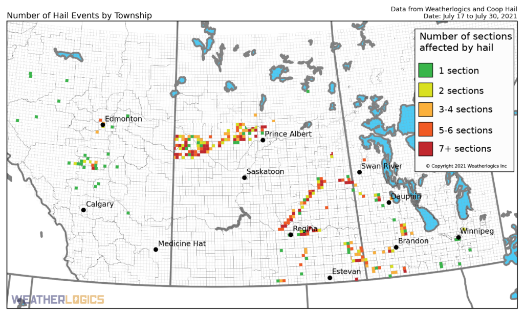 Map of hail events by township between July 17 and 30, 2021