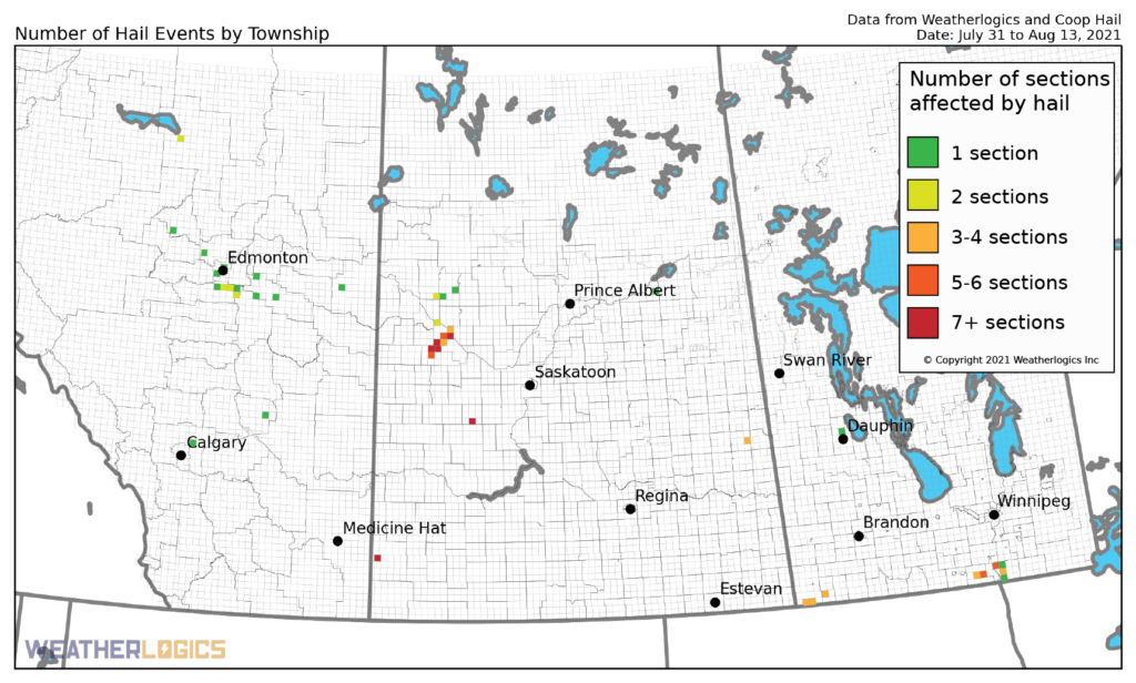 Map of hail events on the Prairies between July 31 and August 13, 2021