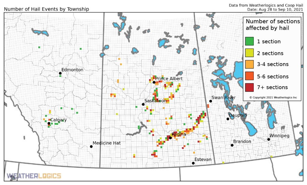 Map of hail events on the Prairies between August 28 and September 10, 2021
