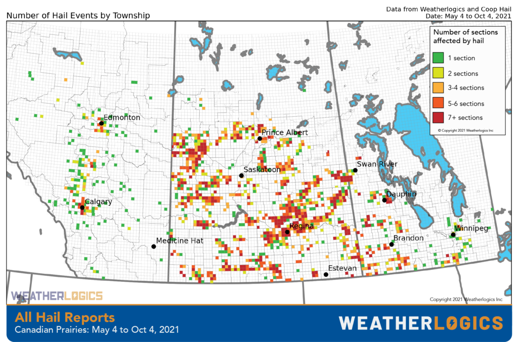 Hail reports by township in 2021